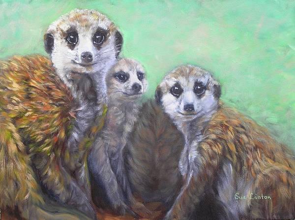 Meerkats Art Print featuring the painting Meerkat Family by Sue Linton