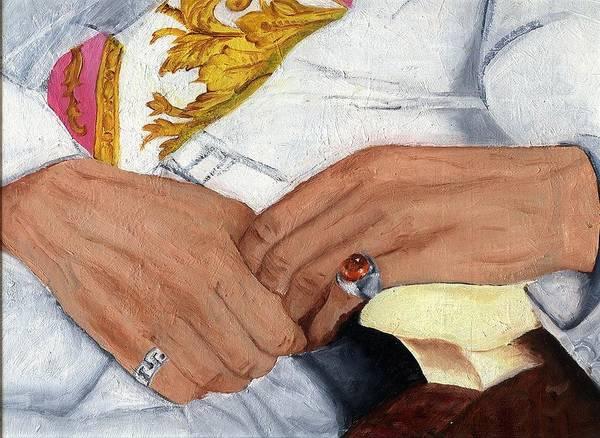 Art Art Print featuring the painting Men In White - Fragment by Svetlana Vinokurtsev