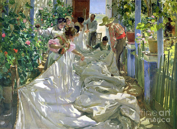 Sewing;straw Hat;geranium;sunshine;worker;workers;greenhouse;conservatory;interior; Pagoda Art Print featuring the painting Mending The Sail by Joaquin Sorolla y Bastida