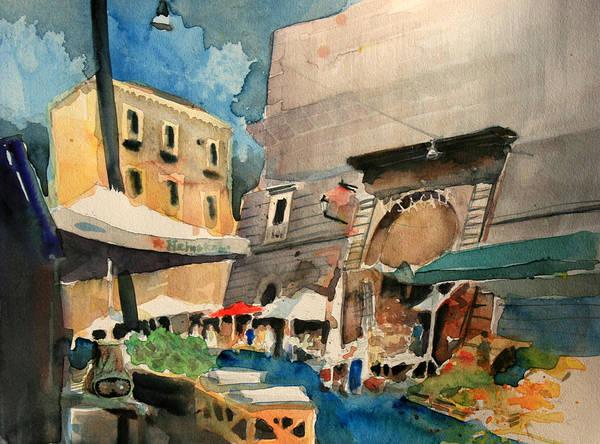 Mercato Art Print featuring the painting mercato del Pesce by Omar Jaramillo