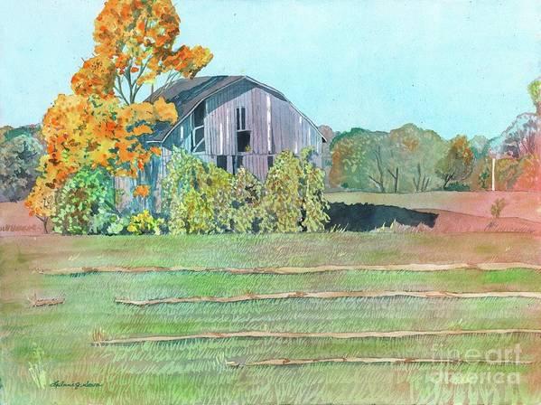 Barn Art Print featuring the painting Michigan Autumn Barn by LeAnne Sowa