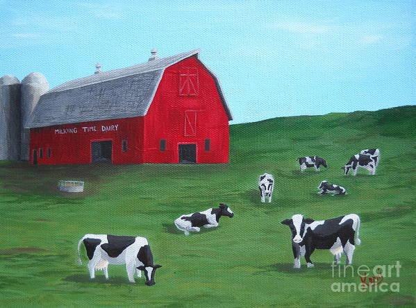 Farm Art Print featuring the painting Milking Time Dairy by Kerri Ertman