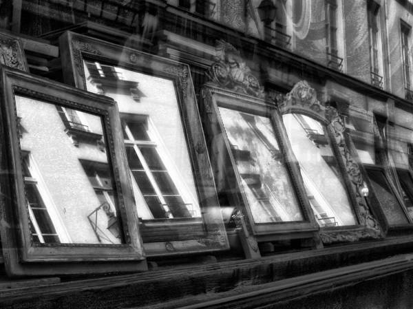 Mirrors Paris Frame Glass Windows Reflections Shop Street Art Print featuring the photograph Mirrors by Marco Moscadelli
