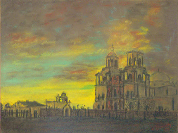 Sonoran Mission Art Print featuring the painting Mission San Xavier Del Bac by Dan Bozich