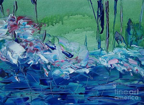 Blues Art Print featuring the painting Mistery Pond by Geraldine Liquidano