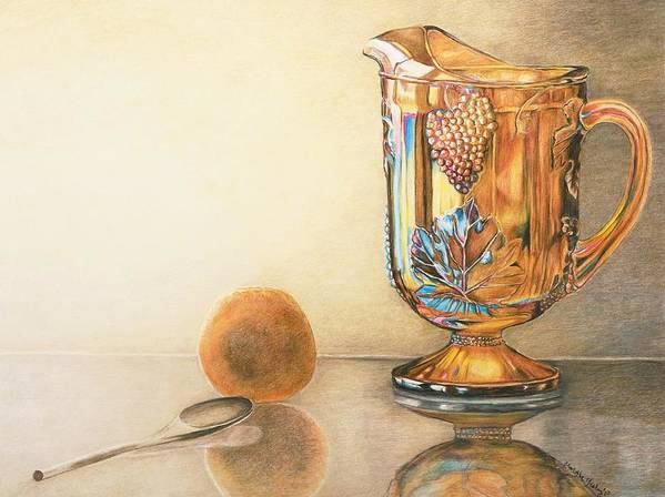Antique Art Print featuring the drawing Mom's Orange Juice Pitcher by Charlotte Yealey