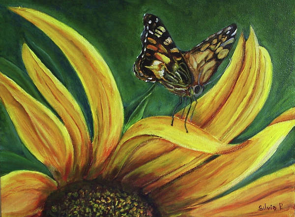 Butterfly Art Print featuring the painting Monarch Butterfly On A Sunflower by Silvia Philippsohn