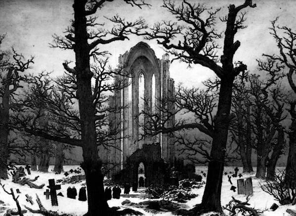 Monastery Art Print featuring the digital art Monastery Graveyard In The Snow Cdf by PixBreak Art