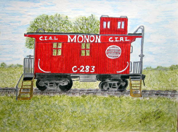Monon Art Print featuring the painting Monon Wood Caboose Train C 283 1950s by Kathy Marrs Chandler
