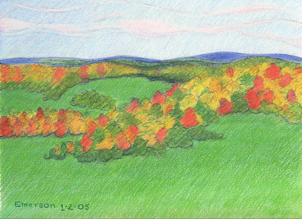 Landscape Art Print featuring the drawing Monongalia County Autumn by Harriet Emerson