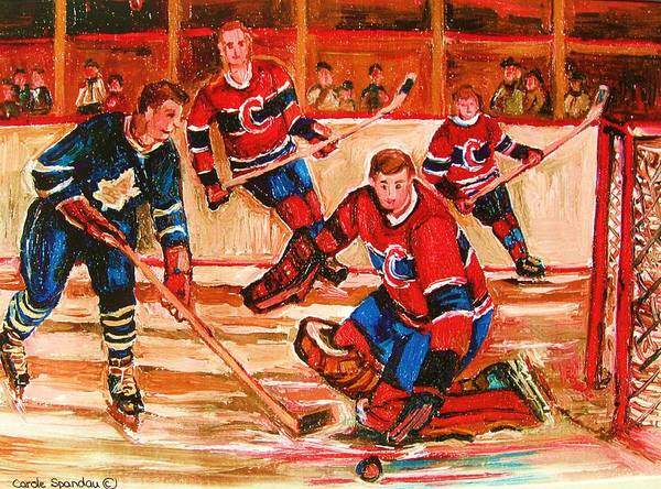 Montreal Forum Hockey Art Print featuring the painting Montreal Forum Hockey Game by Carole Spandau