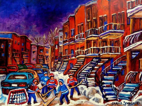 Montreal Art Print featuring the painting Montreal Street Scene Paintings Hockey On De Bullion Street  by Carole Spandau