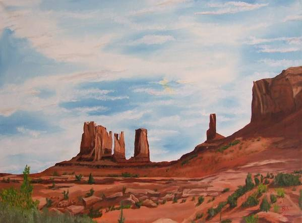 Landscape Art Print featuring the painting Monument Valley by Robert Silvera
