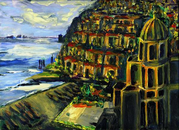 Positano Art Print featuring the painting Moonlight Over Positano by Randy Sprout