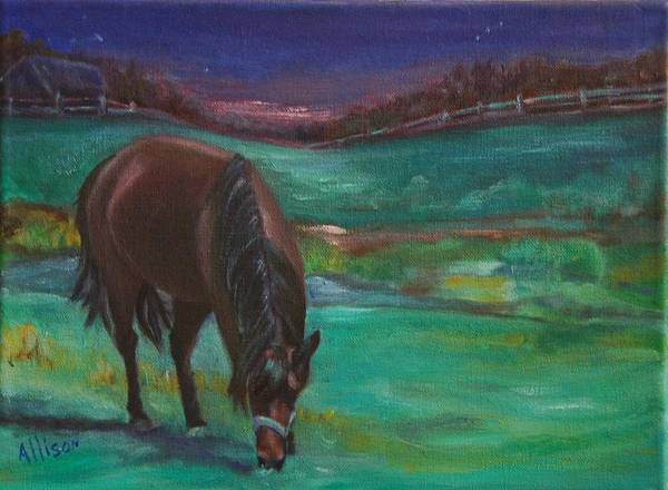 Horse Art Print featuring the painting Moonlight Snack by Stephanie Allison