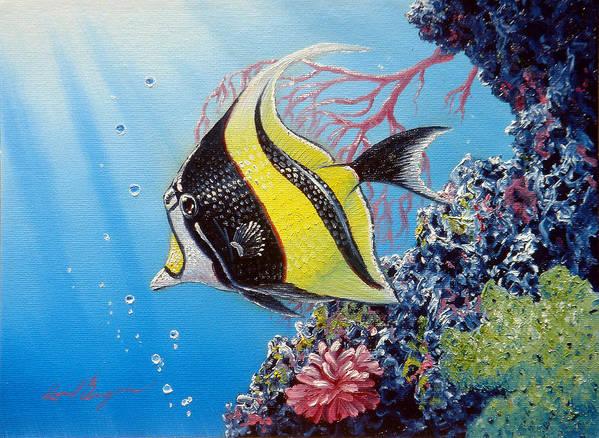 Fish Art Print featuring the painting Moorish Idol by Daniel Bergren