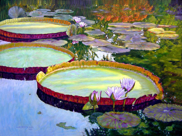 Garden Pond Art Print featuring the painting Morning Highlights by John Lautermilch
