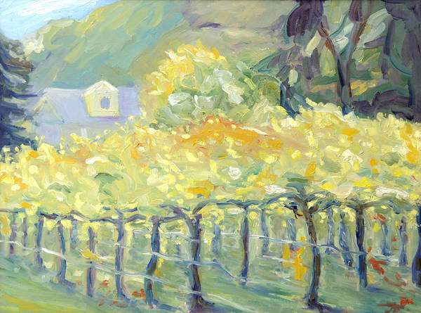 Napa Valley Vineyard Print featuring the painting Morning In Napa Valley by Barbara Anna Knauf