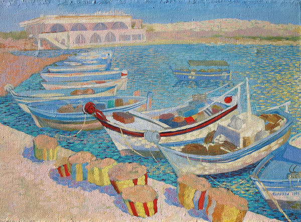Seascape Art Print featuring the painting Morning On Cyprus .2003 by Natalia Piacheva