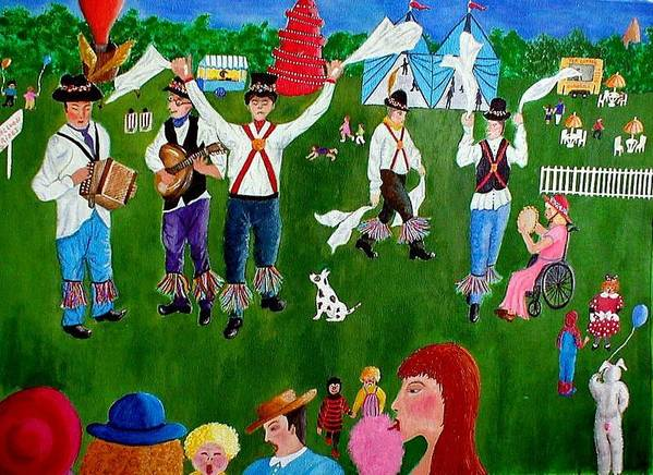 Morrismen Art Print featuring the painting Morris Men by Sandy Wager
