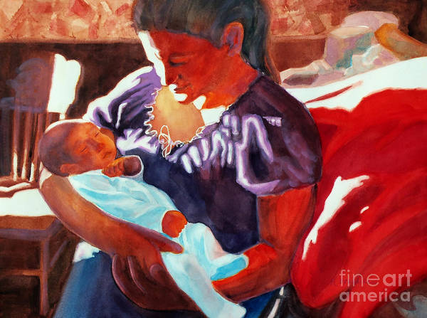 Paintings Art Print featuring the painting Mother And Newborn Child by Kathy Braud