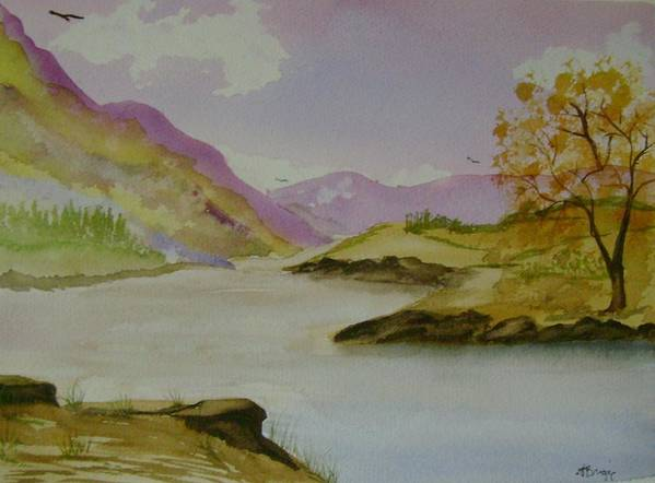 Mountains Art Print featuring the painting Mountain River by Dottie Briggs