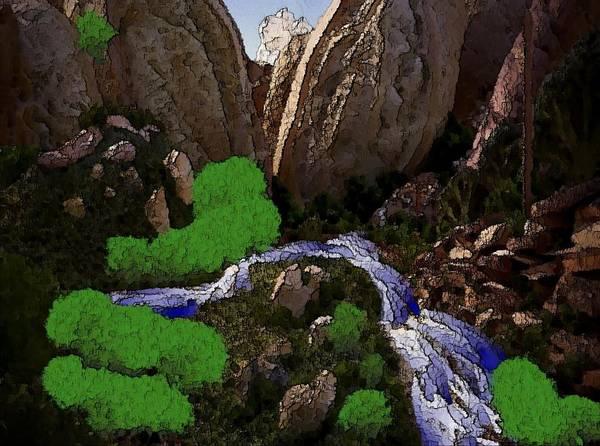 Stones.rocks.mountines.sky.cloud.bushes.river.water.flow. Art Print featuring the digital art Mountine River by Dr Loifer Vladimir