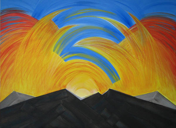 Movement Art Print featuring the painting Movement Of A Sunset by Chimera Kai
