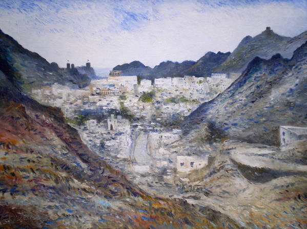 Muscat Oman. Enver Larney. Fine Art. Impressionism Art Print featuring the painting Muscat Old Town Oman 2002 by Enver Larney