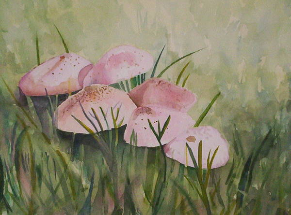 Landscape Art Print featuring the painting Mushrooms by Suzanne Udell Levinger
