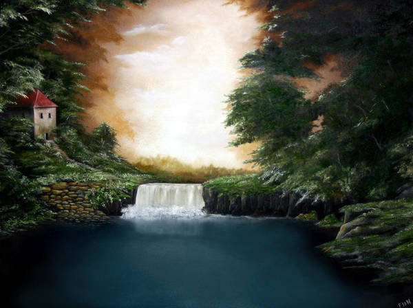 Falls Art Print featuring the painting Mystical Falls by Ruben Flanagan