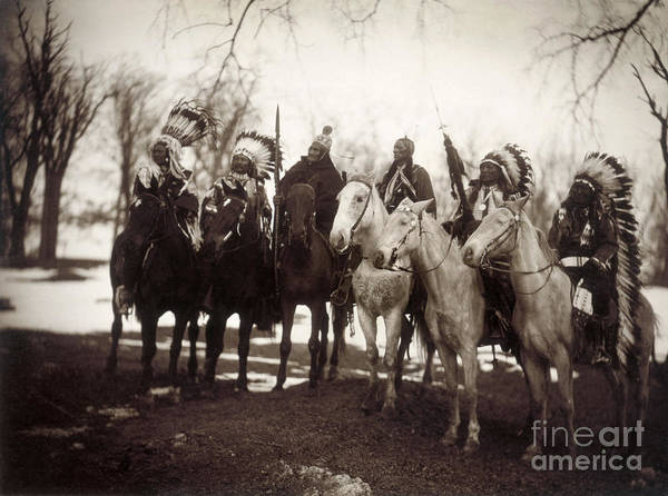 1900 Print featuring the photograph Native American Chiefs by Granger