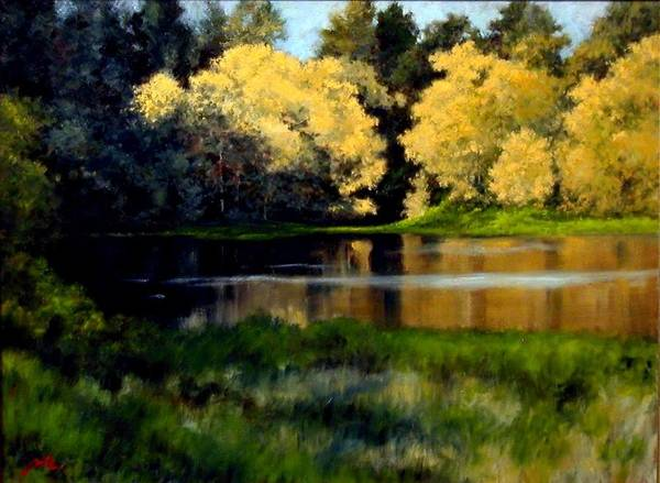Landscape Art Print featuring the painting Nature Walk by Jim Gola