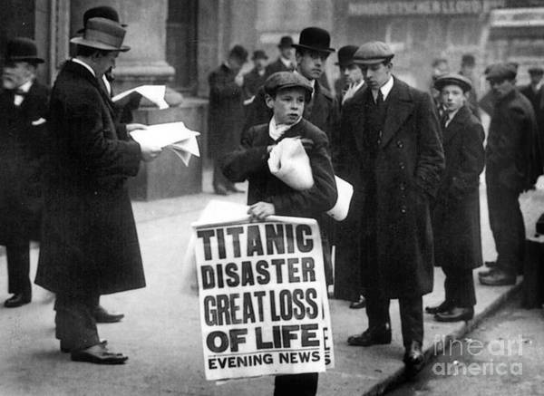 Newsboy Ned Parfett Announcing The Sinking Of The 'titanic' Outside The Offices Of The White Star Line Art Print featuring the photograph Newsboy Ned Parfett Announcing The Sinking Of The Titanic by English School