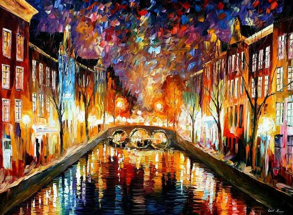 Afremov Art Print featuring the painting Night Amsterdam by Leonid Afremov