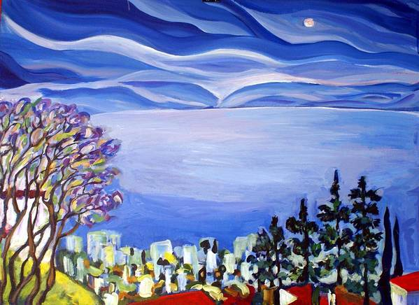 Artwork Art Print featuring the painting Night View Of Tiberas by Maya Green