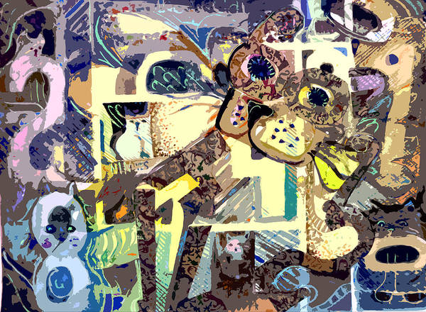 Collage Print featuring the photograph Nine Lives Of The Cat by Mindy Newman
