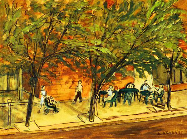 North Aurora Street Art Print featuring the painting North Aurora Street Ithaca New York by Ethel Vrana