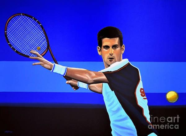 Novak Djokovic Art Print featuring the painting Novak Djokovic by Paul Meijering