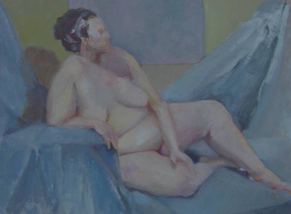 Tasteful Female Nude Art Print featuring the painting Nude In Blue        Copyrighted by Kathleen Hoekstra