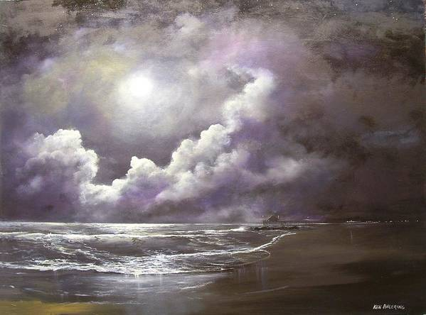 Ocean Art Print featuring the painting Ocean Grove Moon by Ken Ahlering