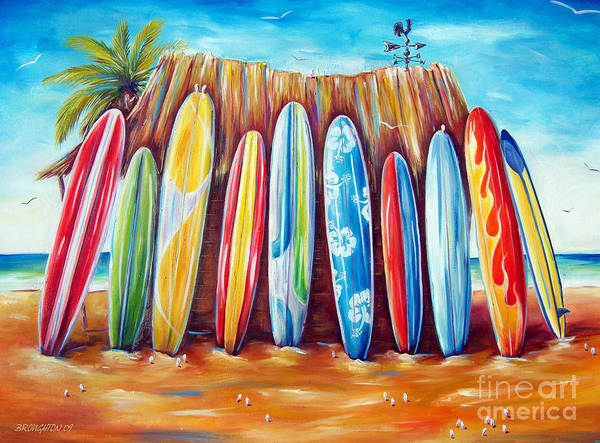 Surf Art Print featuring the painting Off-shore by Deb Broughton
