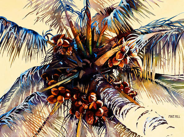 Sun Coconuts Palm Tree Breeze Wind Yellow Light Tropical Warm Hawaii Maui Hawaiian Art Print featuring the painting Oh Nuts by Mike Hill