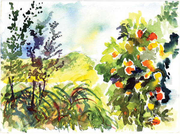 Ojai Art Print featuring the painting Ojai Oranges by Lily Hymen