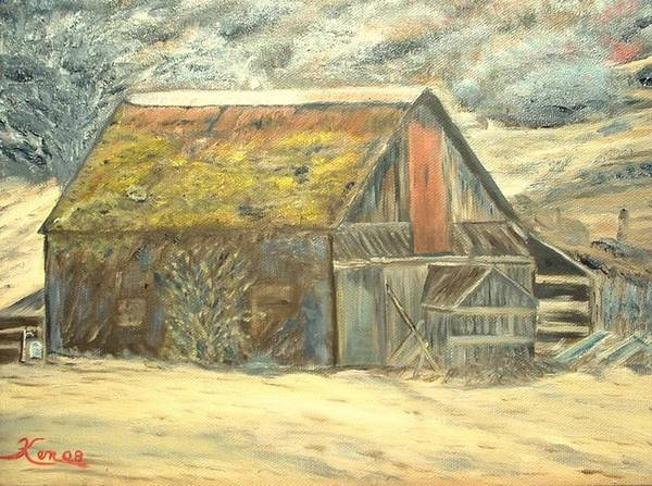 Barn Landscape Old Art Print featuring the painting Old Barn Mossey Roof by Kenneth LePoidevin