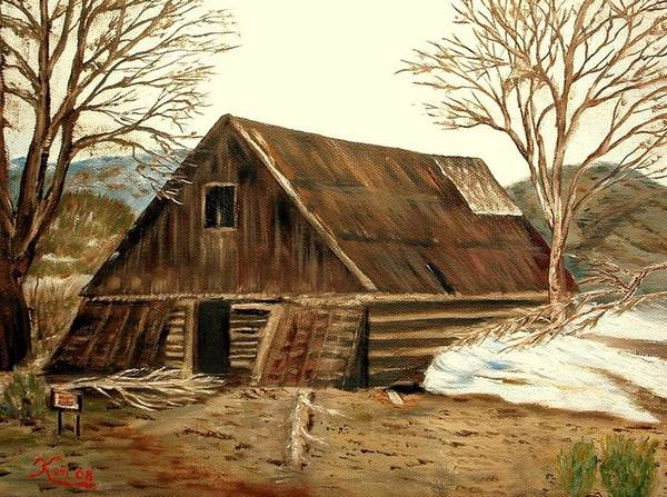 Barn Landscape Snow Art Print featuring the painting Old Barn Series 1 by Kenneth LePoidevin