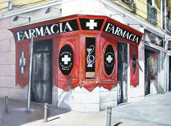 Pharmacy Art Print featuring the painting Old Pharmacy by Tomas Castano