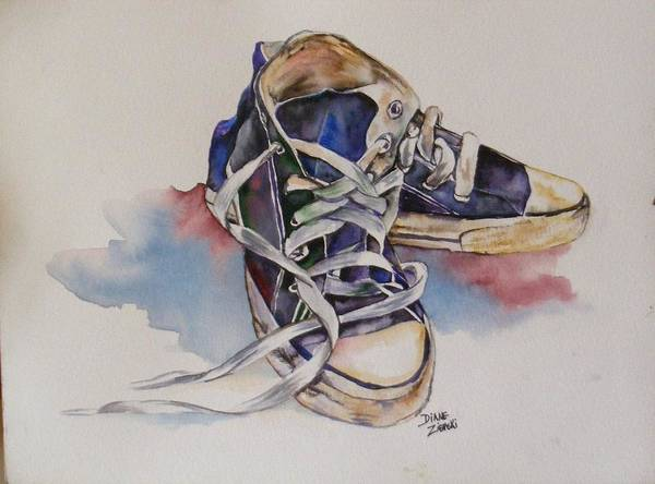 Art Print featuring the painting Old Shoes by Diane Ziemski