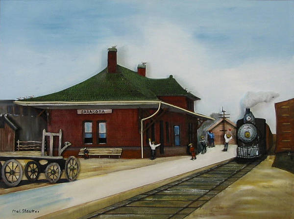 Train Art Print featuring the painting Old Train Station by Mel Stauffer