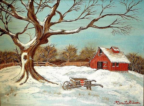 Old Tree Barn Wheelbarrow Snow Winter Painting Art Print featuring the painting Old Tree And Barn by Kenneth LePoidevin